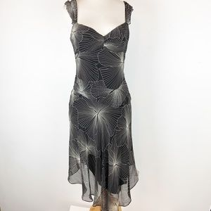 BCBG MAXAZRIA HANDKERCHIEF BEADED COCKTAIL DRESS